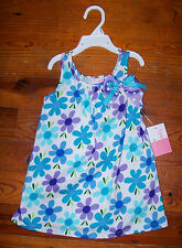 New! Girls SOPHIE ROSE Blue White Purple Cotton Polka Dot Flower Dress 24 Months