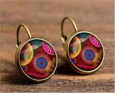 1 pair Mantra Om Earrings bronze Glass cabochon 18 mm Lever Back Earrings #8990