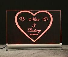 Herz Herzchen LED Schild mit Gravur deiner Namen + Datum - Liebe schenken LOVE