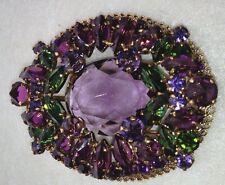 Austria VINTAGE EXLARGE GOLD FLOATING BROOCH Reverse Crystal Green Purple Metal