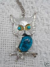Owl Necklace 2 Inch pendant 9 Inch Silver Chain Blue Stone Bird Vintage