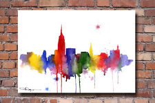 "New York City Skyline Abstract Painting 11"" x 14"" Art Print by Artist DJ Rogers"