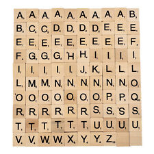 100PC Wood Scrabble Tiles Letter Alphabet Scrabbles Number English Word for Kids
