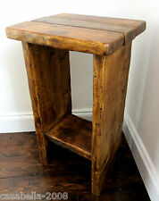 RUSTIC SOLID PLANK WOOD SHABBY CHIC END TABLE / SIDE TABLE / BEDSIDE TABLE
