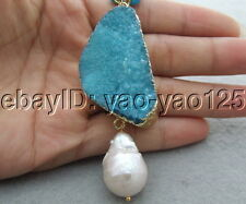 S042609 Natural Keshi Pearl&Turquoise&Agate Necklace