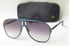 EXC VINTAGE 80s BMW GERMANY MSTYLE AVIATOR SUNGLASSES LARGE BLUE WITH CASE 1980s