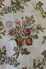 """French Antique Romantic Brocaded Silky Rayon Lampas Fabric c.1910~17""""L X18""""W"""