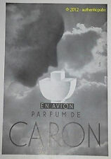 PUBLICITE PARFUM CARON EN AVION ART DECO DE 1933 FRENCH AD PERFUME ADVERT PUB