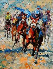 ANDRE DLUHOS thoroughbred horse race equestrian jockeys ltd edition PRINT 08/75