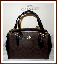 NWT $350 Coach Signature Leather Mini Christie Carryall Bag BROWN BLACK RECEIPT