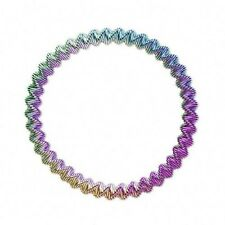 Ombre Rainbow Colors Blue Green Pink Purple Gold Stretch Metal Steel Bracelet