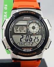 Casio AE-1000W-4B Digital Map Watch 10 Year Battery World Time 5 Alarms New