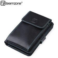 Men Cow Leather Wallet Mobile Phone Clutch Credit Card Holder Checkbook NEW