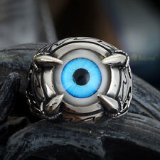 Blue titanium steel Gothic rock personality of men righteous eyes magic ring