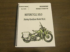 Harley Davidson 1943 Motorcycle Solo Model WLA Technical Manual NO. 9-879