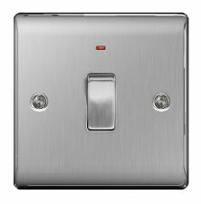 STAINLESS STEEL 20A 20 Amp DP Switch + Neon Brushed Satin - SLIMLINE - NBS31
