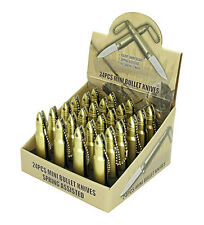 24 Piece Mini Gold Bullet Spring Assisted Pocket Knife Keychain Blade Display