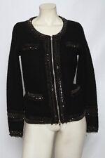 DIANE VON FURSTENBERG Black Beaded Sequin Zip Up Wool Jacket Sz S / XS * sample