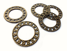 5  x Bronze 35mm Round Circle Flower Charms, Vintage/Steampunk Embellishment