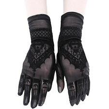 Restyle Henna Mehndi Alchemical Symbols Witch Gothic Black Mesh Wrist Gloves