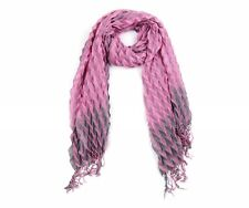 Reduced £8.99!  Striking Pink and Grey Pleat Long Scarf Soft Touch Fabric