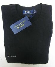 $398 NWT polo Ralph Lauren soft 100%  cashmere cable sweater Black XL XLarge