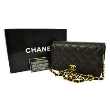 Auth CHANEL Quilted CC Single Chain Shoulder Bag Black Leather Vintage S03952