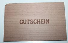 """Grußkarte aus Holz Geschenk Holzpost  Holz Postkarte Karte """" GUTSCHEIN """""""