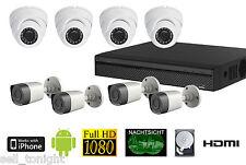 8 Kanal Full HD Set DVR 2TB 30m Nachtsicht Smartphone ÜberwachungsApp !