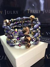 Luxurious Designer Chunky Multi Faceted Beaded Stretch Bracelet Gift Packaged