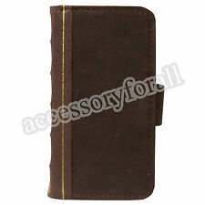 Book Wallet Type Genuine Leather Vintage Case for Samsung Galaxy S4 IV GT i9500