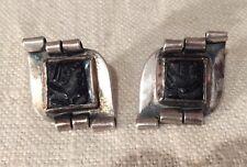 Sam Kramer Sterling Silver Intaglio Lady Modernist Unusual Earrings