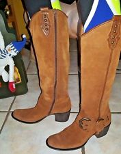 APEPAZZA British Tan Brown Suede Atena Vera Gomma Women's Riding Tall Boots 8N
