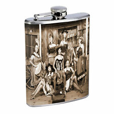 Vintage Saloon Ladies D1 8oz Hip Flask Stainless Steel Sexy Gal Hot Babe