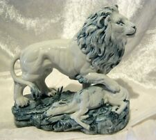 Lion and Prey Figure Group on Plinthe Unusual & Impressive C19th Porcelain