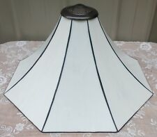 "NEW IN BOX LG 20"" TIFFANY STYLE WHITE CURVED GLASS ART DECCO LAMP SHADE"