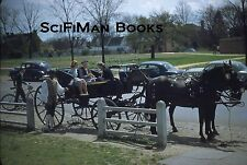 KODACHROME Red Border 35mm Slide Horse Drawn Carriage Old Cars Bicycle 1950s!!!