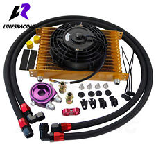 """15 Row AN10 Universal Engine Oil Cooler Kit +Filter adapter +7"""" 12V Electric Fan"""