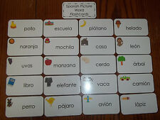 Spanish Picture Word Flash Cards.  Preschool and Pre Kindergarten learning cards