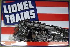 LIONEL ENGINE FLAG TIN SIGN / Model Railroad Train Gifts for Men Wall Decoratio