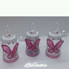 12 Fillable Baby Girl Shower Pink Butterfly Bottles Party Decoration for Girl