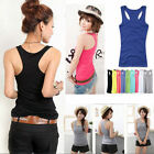 Basic Women Tank Top Racer Back Cami Vest T-Shirt Summer Singlet Camisole Sport