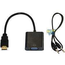 HDMI Male To VGA Female Converter Adapter w/ 3.5mm Stereo Audio USB Power Cable