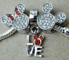Disney Mickey Minnie Full Crystal Mouse Head Love Letters European Beads Charms