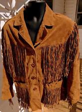 "1980's  VINTAGE BROWN  FRINGED SUEDE LEATHER HIPPIE WESTERN JACKET -49""CHEST"