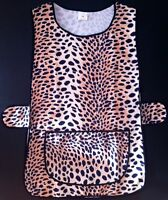 LADIES WOMENS SIZES 10-26 LEOPARD/TIGER PRINT SIDE BUTTON OVERALL TABARD APRON