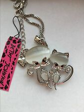 Betsey Johnson Crystal cat lovers Pendant Necklace Sweater chain charm BJ27