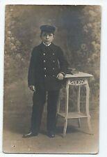 BP041 Carte Photo vintage card RPPC Enfant garçon déguisement costume militaire