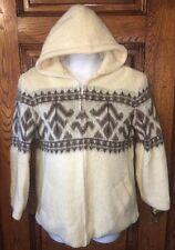 Vintage AS TINGVOLL TRADITION Norway Norwegian Cream WOOL Hooded JACKET Coat, M