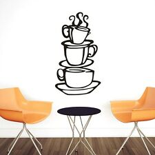 Black Kitchen Coffee House Cup Wall Sticker Decal Vinyl Decor DIY Removable Home